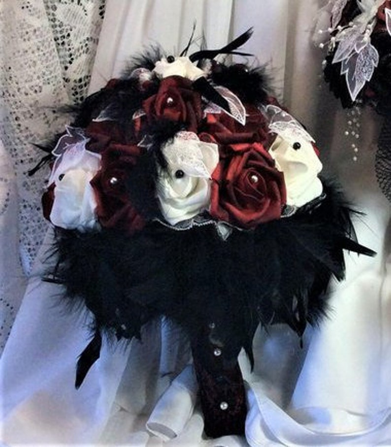 Red Black Wedding Gothic Bridal Flower Bouquet Feather Etsy
