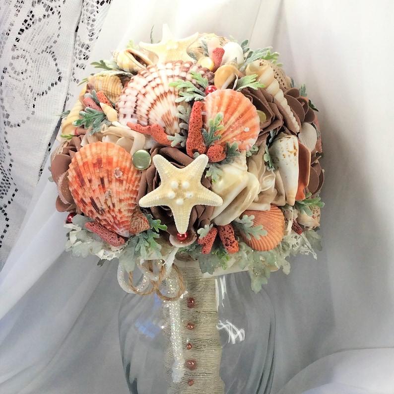 Rustic Boho Beach Wedding Bridal Wedding flower Bride Bouquet Bridal Bouquet Boho Bouquet Silk Flowers Starfish Seashell Destination Wedding