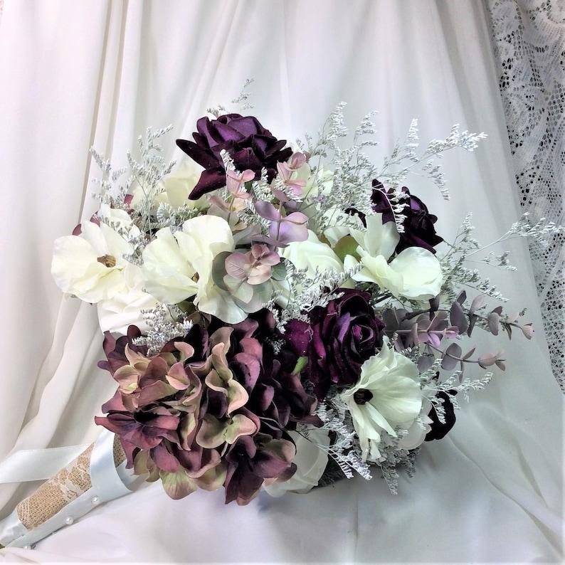 9ea83d0985d9 Plum Purple Wedding Boho Bridal Flower Bouquet Silk Wedding