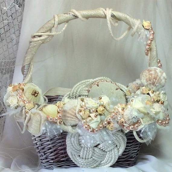 Beach Wedding Wedding Basket Decorated Seashell Wedding Beach Etsy