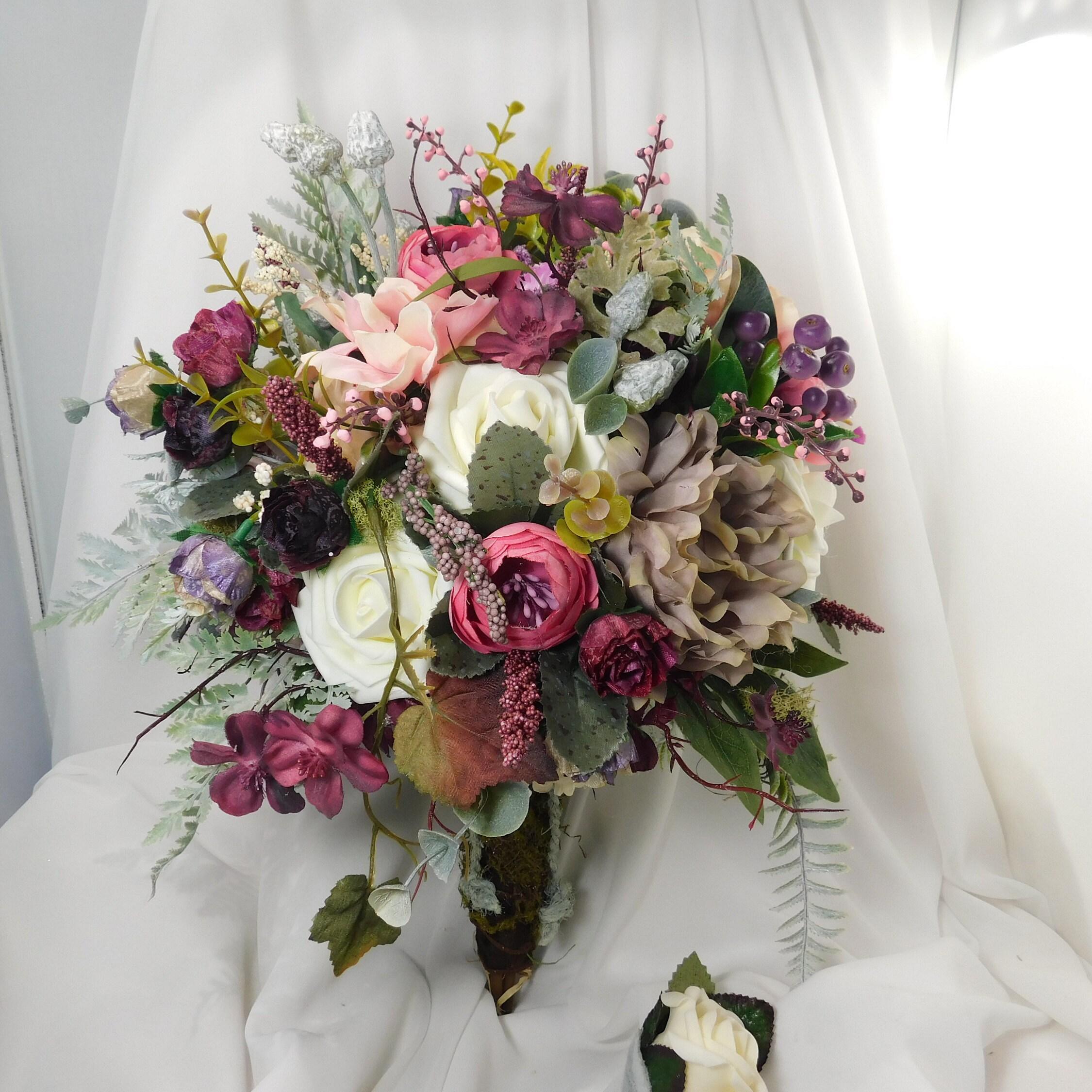 Renaissance Wedding Bridal Bride Bouquet Flowers Ivory Blush Pink Burgundy  Silk Bouquet Woodland Forrest Larp Elvish Viking Wedding Bouquet