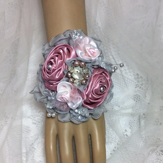 Mauve Gray Pink Flower Corsage And Boutonniere Prom Wrist Etsy