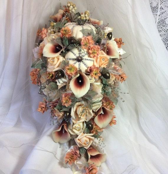 Boho Hochzeit Brautstrauss Kaskadierung Blumen Pfirsich Und Etsy