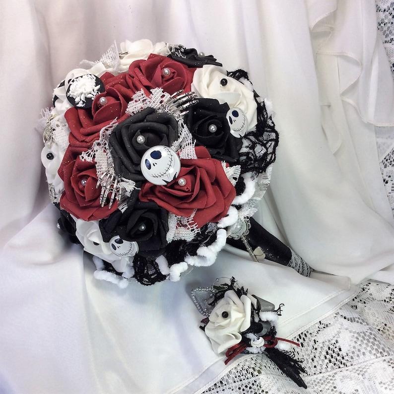 Red White Black Nightmare Before Christmas Wedding Bridal Etsy