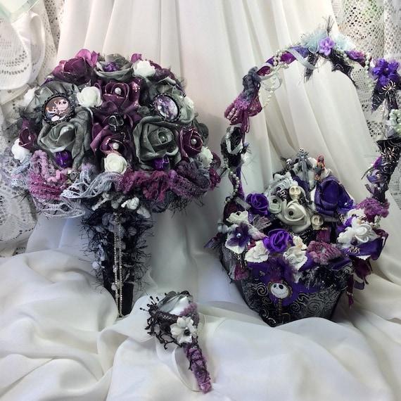 Nightmare Before Christmas Wedding Flowers Bridal Bouquet Halloween Flowers Bridal Silk Bouquet Wedding Nightmare Fantasy Jack Skellington