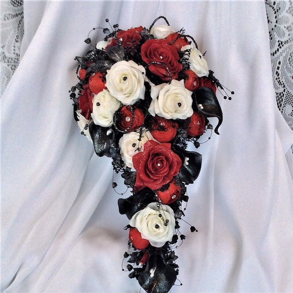 Red white black wedding flower bouquet cascade etsy image 0 mightylinksfo