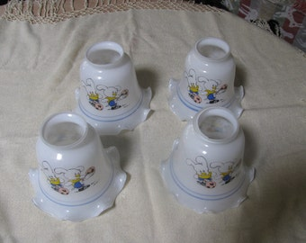 Vintage Soccer Bunnies Lamp Shades - set of four