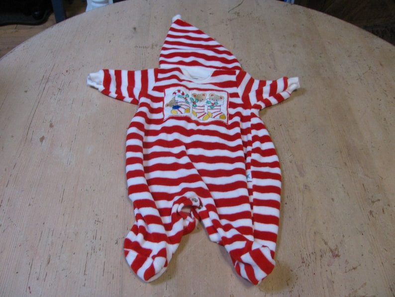 newborn Christmas sleeper with matching hat Little Me Label vintage