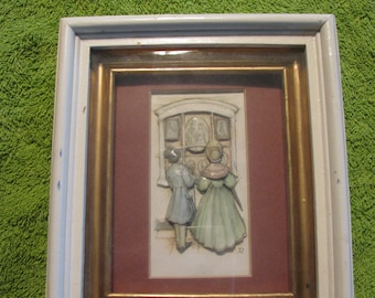 Vintage Decoupage 3D Picture of old English couple window shopping.