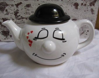 Funny Face Sleepy with Love Emoticon Teapot!