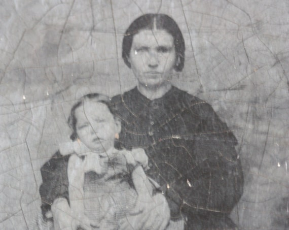 Circa 1850s, Victorian Era Tintype of Mother and Child