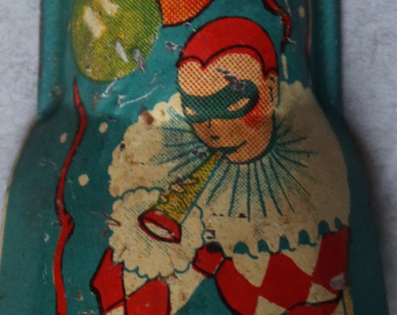 Vintage Lithographed Tin Noisemaker with Harlequins by TC (USA)