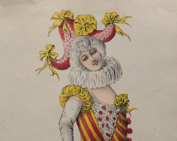 Madame Polichinelle, French, Antique Hand-Colored Lithograph