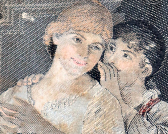 Antique French Stevengraph, Woven Silk Picture of Two Women with Candle