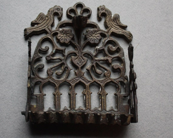 Brass Oil Menorah with Birds, Flowers and Archways
