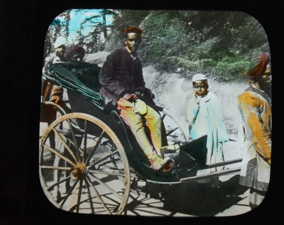 Antique Colored Magic Lantern Slide of a Jinrikisha in Simla, India by Walter Isaacs of New York