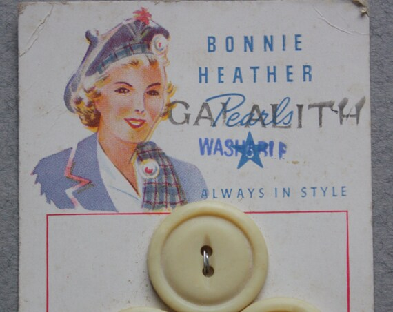 Bonnie Heather Galaith Pearls, 1940s Button Card by Harvey Chalmers & Son, Inc.