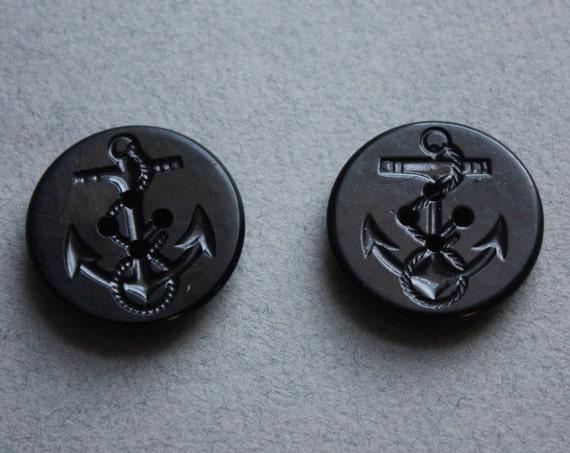 Nautical Black Bakelite Buttons