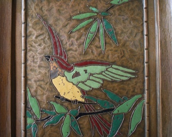 French Coppersmith Albert Gilles Copper and Enamel Bird Art