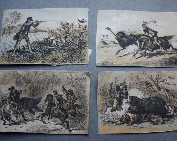 Antique Set of Hunting Themed Illustrated Cards