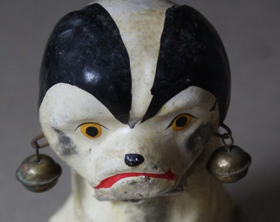 Antique, Early 1900s, Papier-Mâché, Black and White Dog Nodder with Bells on Ears