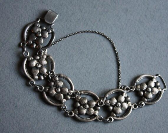 Art Nouveau Style Sterling Floral Bracelet, Circa 1930