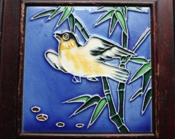 Framed Asian Tile with Bird and Bamboo