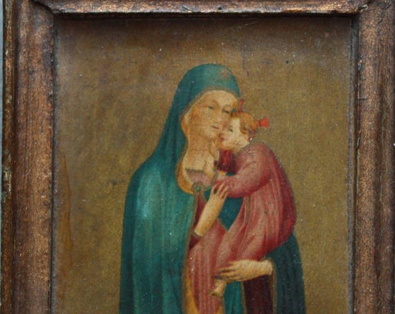 Italian Painted Wooden Icon of Madonna and Child