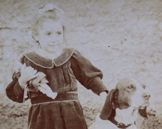 Antique CDV of Young Girl with Dog and Doll, from France
