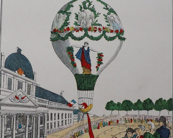 Ascension de Madame Blanchard au Champ-de-Mars 1810 Color Lithograph from Balloons by The Aerial Press
