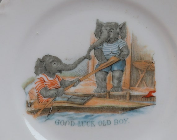 Antique German Plate with Elephants
