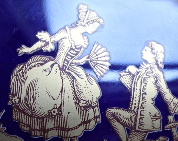 Limoges Cobalt Blue Porcelain Box of Fragonard Couple with 24 Kt Gold Embellishments