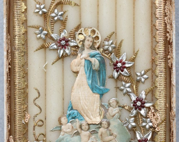 Virgin Mary, Antique, Wax and Silk Offering from Germany