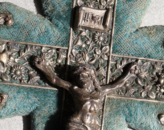Antique, French Crucifix Mounted on Velvet