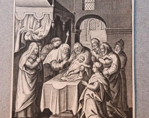 La Purification de Nostre Dame (The Purification of Our Lady), 1600s Engraving by Isac Jaspar