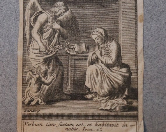Seventeenth Century, French Engraving of the Annunciation by Pierre Landry