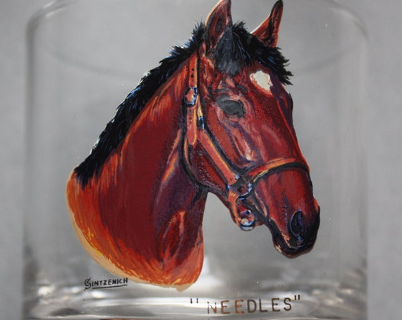 Sintzenich Drinking Glasses Depicting American Champion Thoroughbred Racehorses