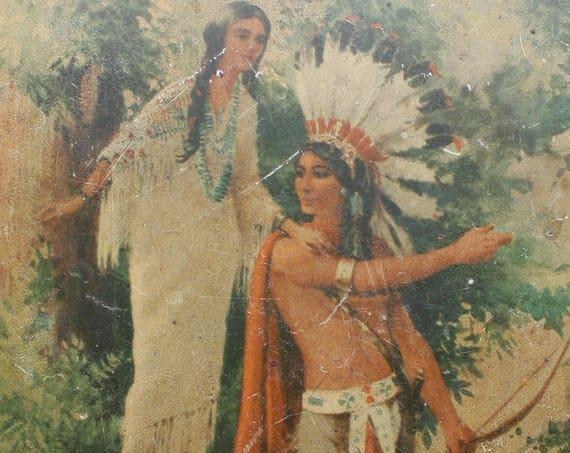 Hiawatha's Wedding Journey, Octagonal, Loose-Wiles Sunshine Biscuits Tin, Circa 1936