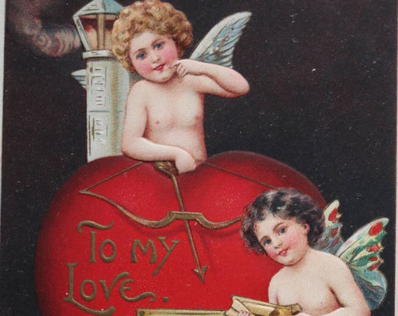 Antique Valentine's Embossed German Postcard