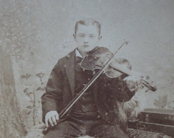 Cabinet Card of Boy with Fiddle