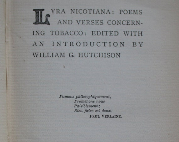 Lyra Nicotiana: Poems and Verses Concerning Tobacco, Antique Book