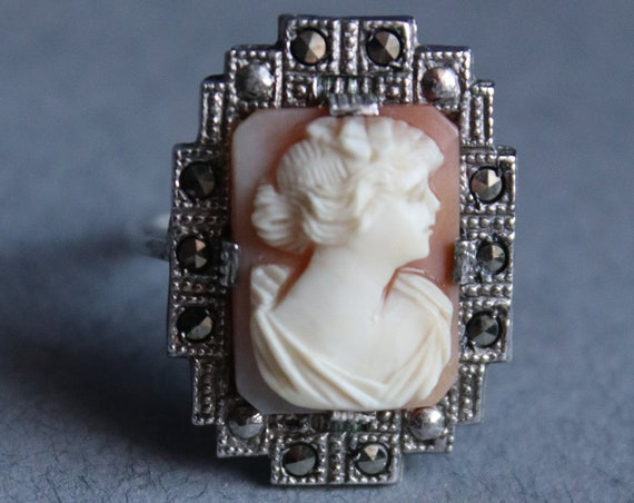 Vintage Marcasite and Cameo Ring