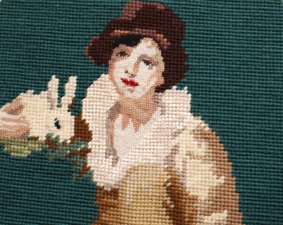 Needlepoint after Henry Raeburn's Boy and Rabbit