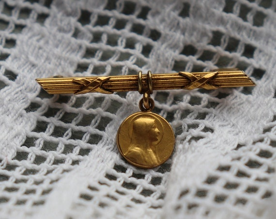 Auguste Savard, Vintage, FIX French Brooch of the Virgin Mary