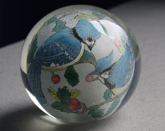 Blue Jays and Cherries Reverse Painted Glass Paperweight