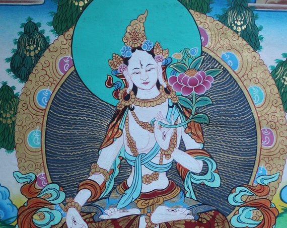White Tara Tibetan Thangka