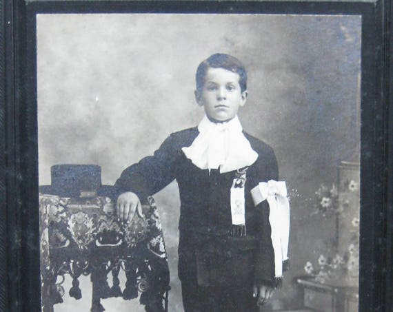 Antique Cabinet Card of Young Boy's Communion Photo, Silver Gelatin Print