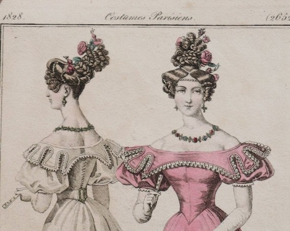 Antique, 1828 Hand-Colored Etching of French Dress from Le Journal des Dames et des Modes