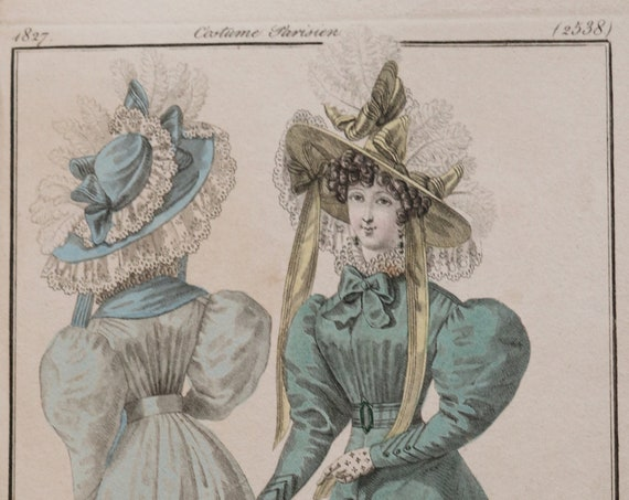 Antique, 1827 Hand-Colored Etching of French Dress from Le Journal des Dames et des Modes