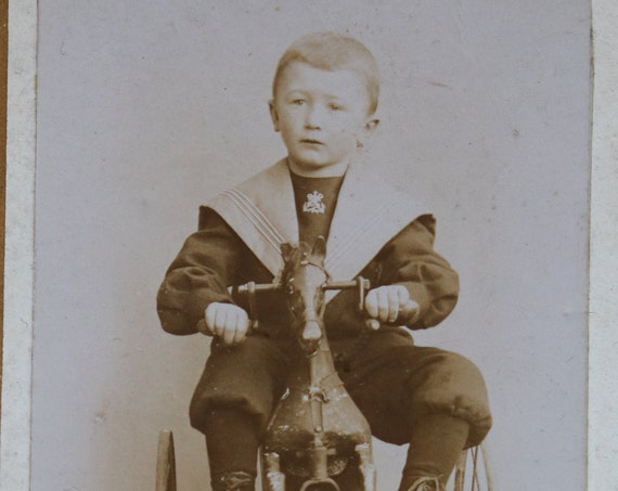 French Carte de Visite of Boy on Horse/Tricycle Velocipede